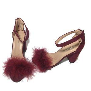 TOP Moda Shoes - TOP Moda Burgundy Suede Fur Chunky Heels